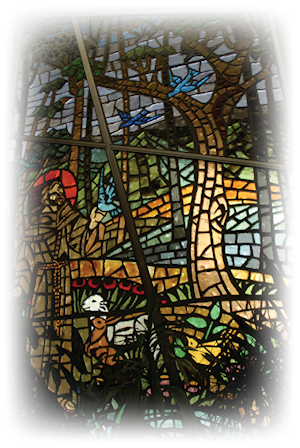 Stained glass window of St. Francis of Assisi